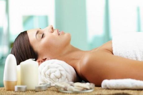 Female taking pleasure before spa procedure